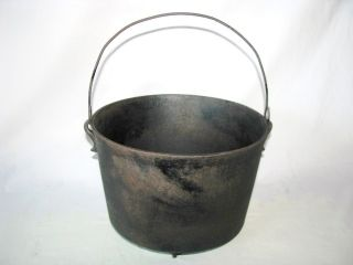 Antique Cast Iron Kettle Cauldron Hanging Footed Cowboy Camp Fire
