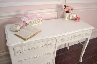 Shabby Cottage Chic 4 Drawer Writing Desk White French Vintage Style