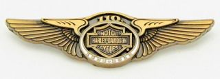 Harley Davidson 110th Anniversary Wings Vest Pin  Gold Tone
