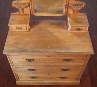Antique Golden Walnut Chest Dresser Vanity w Mirror T72A