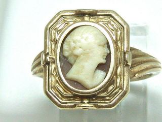 ANTIQUE FLIP RING RARE DUAL LOOK CAMEO SCHOOL RING 14 KT GOLD