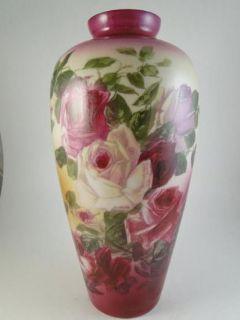 Antique Pittsburgh Lamp Brass Glass Table Vase Art Rose Flower Large