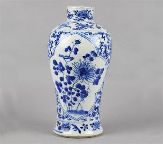 Antique Chinese Floral B w Painted Baluster Vase Kangxi Mark 19th C