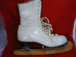 vintage white leather women ice skates
