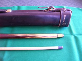 ANTIQUE VINTAGE BRUNSWICK PERSONAL CUE with ORIGINAL LEATHER CASE