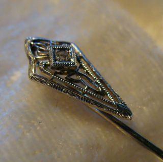 Vintage 14k White Gold Diamond Hat Stick Lapel Pin Antique Art Deco
