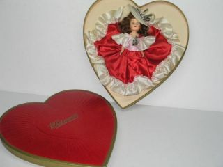 Vintage 1956 Whitmans Heart Shaped Valentine Candy Box with Doll
