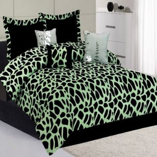 Green Giraffe Animal Print Comforter Bedding King Queen Set