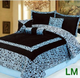 7PC NEW Blue Faux Fur Zebra Animal Print Comforter Set **KING **