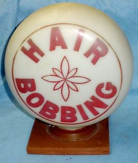 Very Rare Antique Milk Glass One Piece HAIR BOBBING Barber Pole Shop