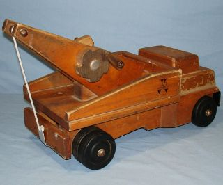 Vintage 1960`s Community Rifton NY Wood Toy Tow Truck
