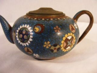 antique japanese meiji cloisonne miniature teapot