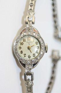 Antique Art Deco Platinum Diamond 17 Jewel Lady Elgin Wrist Watch