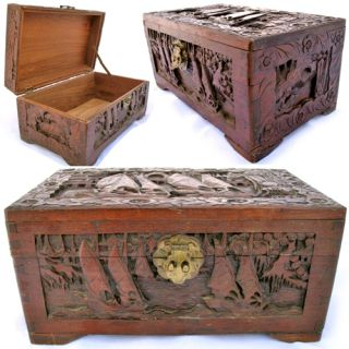Vintage Old Wood Wooden Jewelry Treasure Box Carved Scooner Sail Sea