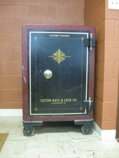 Large 46 Tall Antique Victor Floor Safe w Combination Pickup Only
