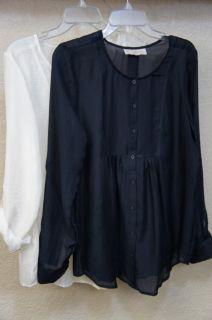 Ann Taylor Loft Off White or Navy Blue Sheer Long Sleeve Blouse S