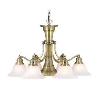 New 6 Light Chandelier Lighting Fixture Antique Brass White Alabaster