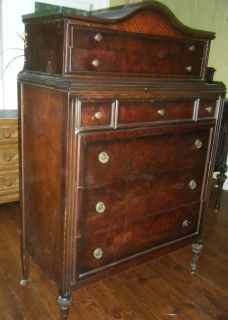 Antique Dark Wood Mahogany Tall Dresser Chest of 6 Drawers
