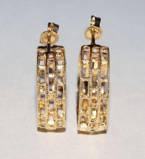 Fine Estate 14k Yellow Gold Hoop Huggie Stick Fashion Earrings