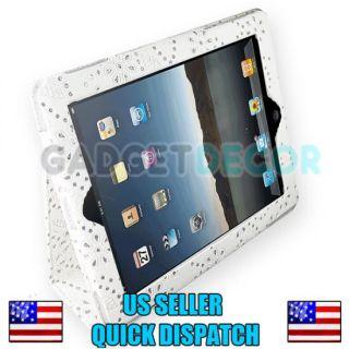 For Apple iPad2 iPad 2 White Glitter Leather Portfolio Case Stand