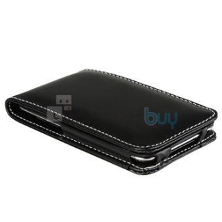 Black Leather Flip Case Cover Pouch for Apple iPod Touch 4th Gen 4G