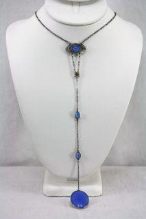 Antique Edwardian Silver Blue Moonstone Dangling Pendant Necklace