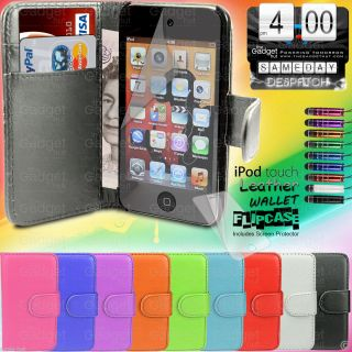 Leather Flip Case Cover Pouch Wallet for Apple iPod Touch 4 4G 4th Gen