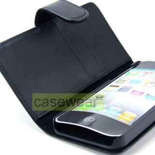 Luxmo Black Leather Flip Pouch Case Cover for Apple iPhone 5 Accessory