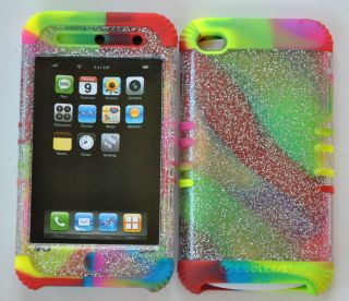 Rubber Cover Case Skin for Apple iPod Touch 4 4th New Glitter