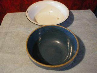 Antique Blue Stoneware Pottery Crock Bowl Vtg Blk Wht Enamel Wash Pan