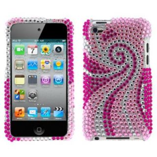 Pink Swirl Diamond Bling Rhinestone Hard Case Cover for iPod Touch 4G