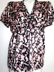 Apt 9 Stretch Silky Peasant Floral Shabby Chic Blouse Womens Top Shirt
