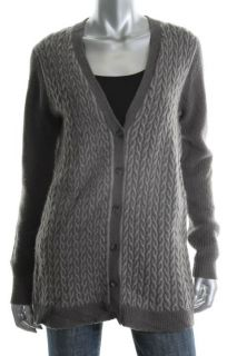 Anne Klein New Gray Long Sleeve Button Front V Neck Cardigan Sweater s