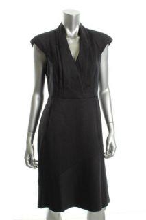 Anne Klein Navy Wool Pattern Pleated Cap Sleeve Wear to Work Dress 10
