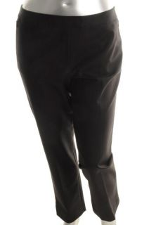 Anne Klein New Black Flat Front Zip Front Pockets Slim Dress Pants 16