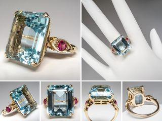 Natural Aquamarine Cocktail Ring w/ Created Rubies 14K Gold skubr0018