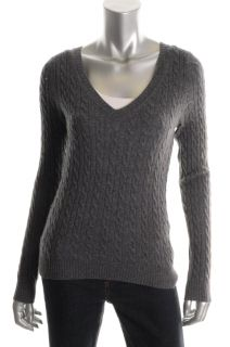 Aqua New Gray Cashmere Cable Knit Ribbed Long Sleeve V Neck Pullover