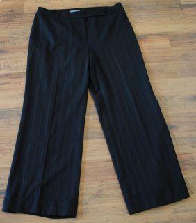 Womens Ann Taylor Size 16 Black Pinstriped Career Dress Pants Slacks