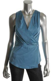 Anne Klein New Blue Poplin Pleated V Neck Sleeveless Wrap Top Shirt 8