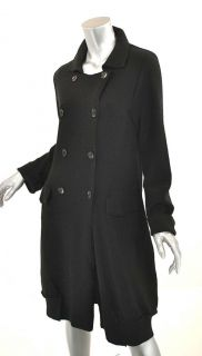 Annette Gortz Germany Black Wool Knit Dress Coat Duster Versatile s M
