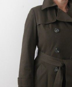 AQUASCUTUM London Ladies Brown Aqua 5 Military Trench Coat Jacket s M