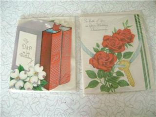 Lot 7 Vintage Greeting Cards Unused Birthday Anniversary Wife Get Well