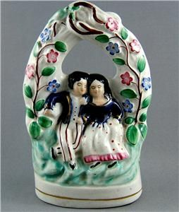 Antique Staffordshire Pottery Group Lovers in An Arbour