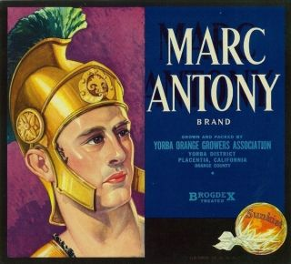 OLD1930s Roman Army Marc Anthony Label Placentia CA
