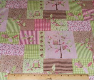 Owl Tree Patch Springs Nursery Fabric yds cotton Squirrel Bird