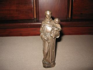 ANTIQUE RELIGIOUS METAL SAINT ANTHONY STATUE FIGURE CHURCH ALTER ART