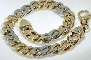 Heavy Mens Bracelet 10K Yellow White Gold 42 2 Grams