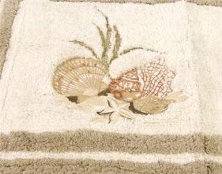Chapel Hill 6 PC Set Antigua Shower Curtain Hooks Mat Towels Seashells