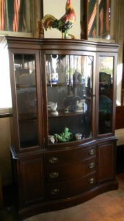 Antique Mahogany Bow Front China Cabinet Bassett Furniture Breakfront