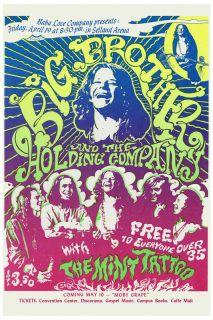 Classic Rock Janis Joplin Big Brother at Selland Arena Poster Circa